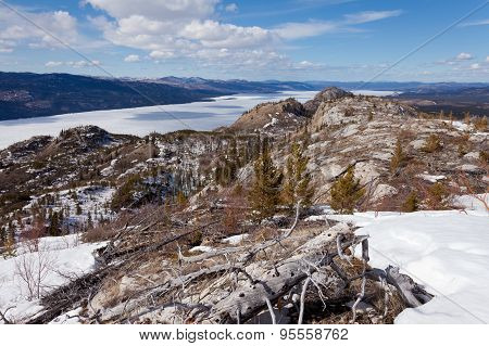 Frozen Surface Lake Laberge Spring Yukon Canada