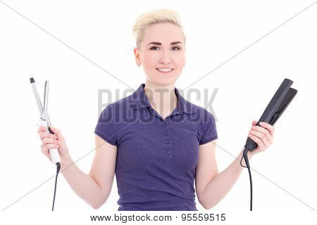 Beautiful Woman Hair Stylist With Hair Curler And Iron Isolated On White