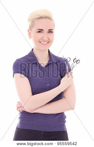 Happy Woman Hair Stylist Posing With Scissors Isolated On White