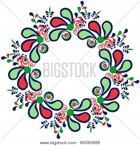 Colorful Floral Print. Cute Frame With Flowers And Doodles, Vector Illustration