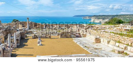 Panoramic view of Kourion archaeological site. Limassol District Cyprus