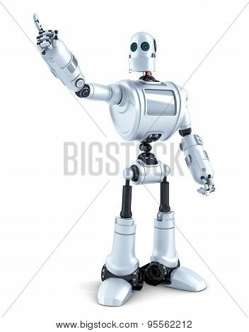 Robot Pointing At Invisible Object. Isolated. Contains Clipping Path