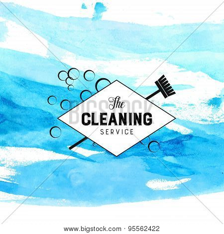 Vintage diamond badge for cleaning service with broom and bubbles. Vector label at blue watercolor b