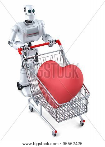 Robot With Shopping Cart And Huge Red Heart In It. Isolated. Contains Clipping Path