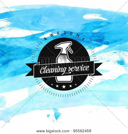 Cleaning service vector badge with spray and ribbon at blue background