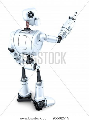 Robot Pointing At Invisible Object. Side View. Isolated. Contains Clipping Path