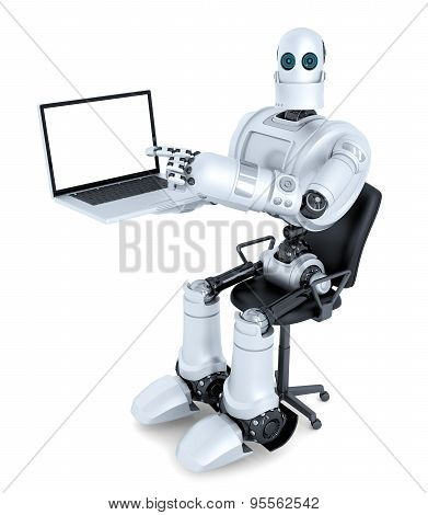 Robot With Laptop Sitting In Office Chair. Isolated. Contains Clipping Path Of Entire Scene And Lapt