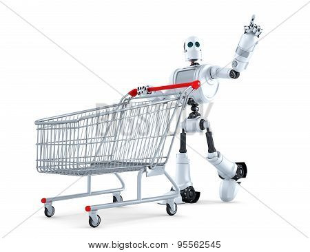 Robot With Shopping Cart Pointing At Invisible Object. Isolated. Contains Clipping Path