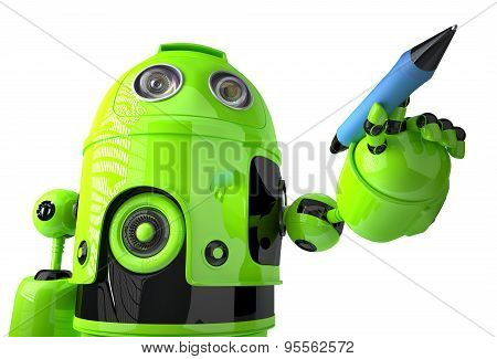 Green Robot Writing On Invisible Screen. Isolated. Contains Clipping Path