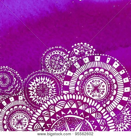 Violet watercolor paint background with white hand drawn round doodles and mandalas. Vector design o
