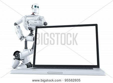 Robot With Blank Screen Laptop. Isolated. Contains Clipping Path