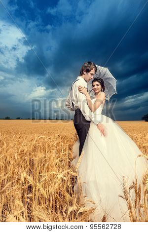 Bride And Groom In Wheat Field With Beautiful Blue Sky