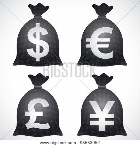 Money Bag Sack Dollar Usd Euro Eur Pound Gbp Yen Jpy