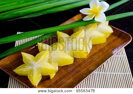 Starfruit, Carambola On Wooden Plate