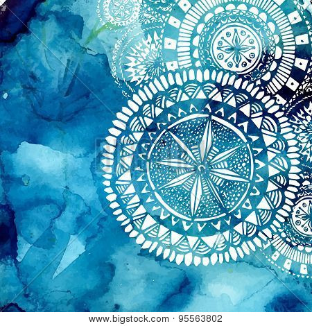 Blue watercolor brush wash with white hand drawn pattern - round doodle tribal elements. Vector ethn