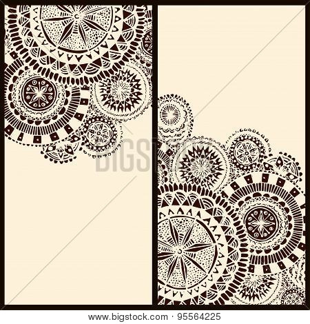 Set of two vertical banners with tribal round mandala elements.