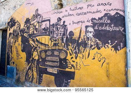 Orgosolo, Italy - June 26, 2015 - Typical Wall Paintings On The Streets Of Orgosolo, In Sardinia, It