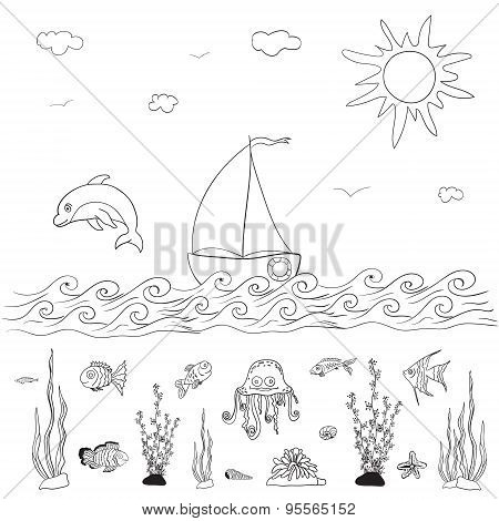 Sea And Fishes vector