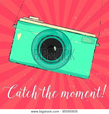 Vintage turquoise photo camera. Hipster vector poster with text catch the moment