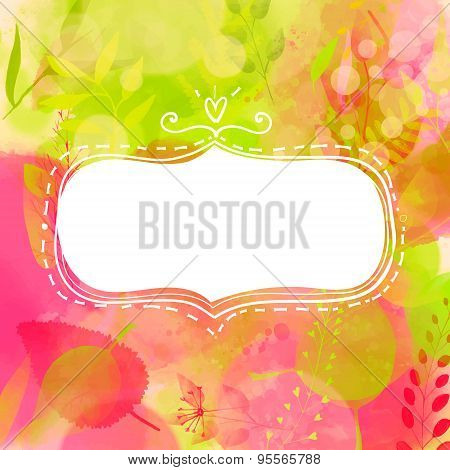 Blank doodle decorative frame. Nature inspired pink and green background with watercolor texture and