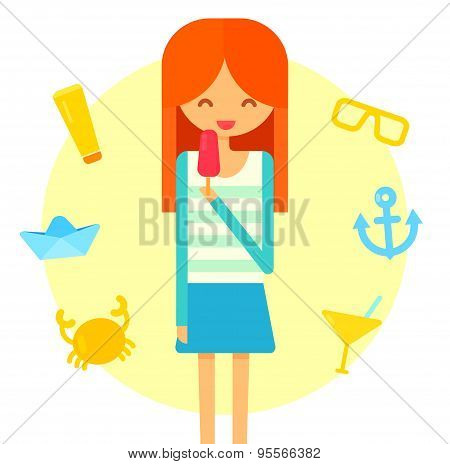 Young happy redhair girl eats ice cream. Summer flat vector illustration with crab, cocktail, anchor