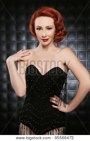 Red Haired Pinup Fashion Model on Styled Set