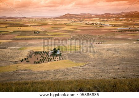 Rural landscape around Consuegra, Castile-La Mancha, Spain