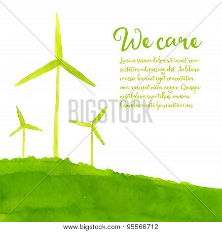 Green eco background with hand painted wind turbines on the hill. Ecology concept. Vector watercolor