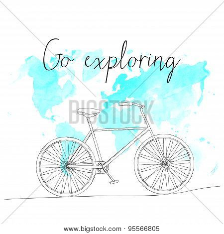 Hand drawn sketch bicycle on world map background and text go exploring.