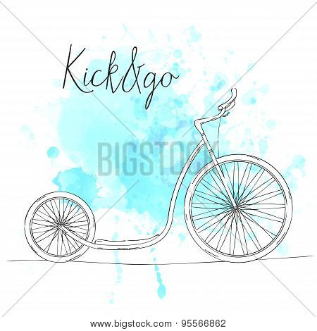 Hand drawn sketch footbike and text kick and go on blue watercolor splash. Retro illustration.