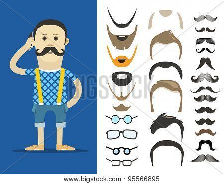 Hipster accessories vector clip-art. Person design elements