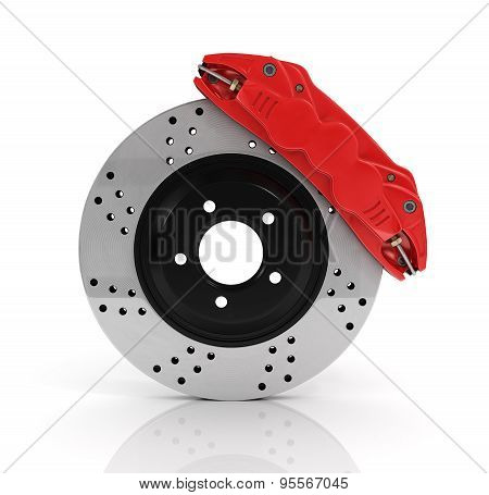Automobile Braking System. Aeration Steel Brake Disk With Perforation And Red Six Pistons Calipers A
