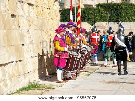 Drummers and officer In Guarda Parade in Birgu