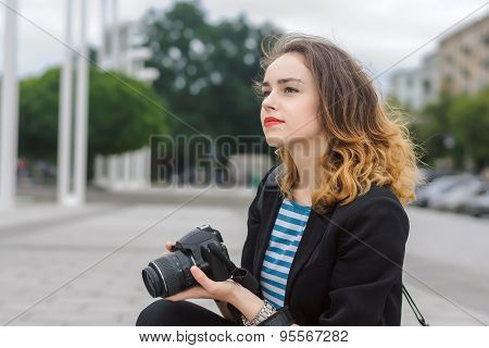 Woman Tourist Looking Thoughtfully Away