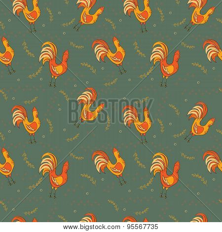 Colorful chickens seamless pattern. Kids vector illustration