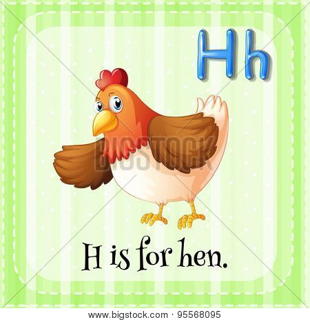Flashcard letter H is for hen