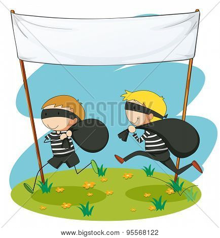 Two robbers running away with bag