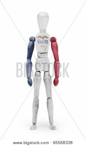 Wood Figure Mannequin With Us State Flag Bodypaint - Iowa