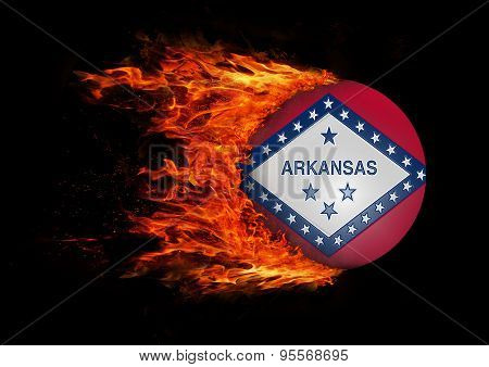 Us State Flag With A Trail Of Fire - Arkansas