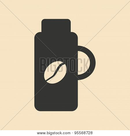 Flat in black and white mobile application thermos