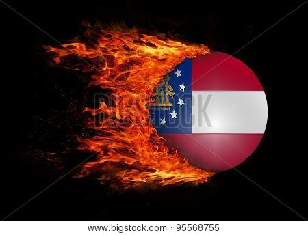 Us State Flag With A Trail Of Fire - Georgia