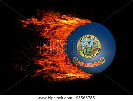 Us State Flag With A Trail Of Fire - Idaho