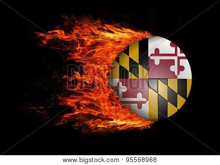 Us State Flag With A Trail Of Fire - Maryland