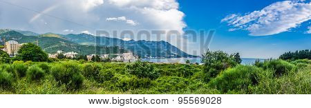 Panorama Landscape View On Mountain And Sea In Montenegro