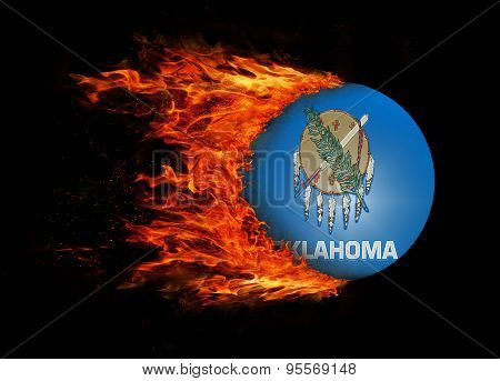 Us State Flag With A Trail Of Fire - Oklahoma