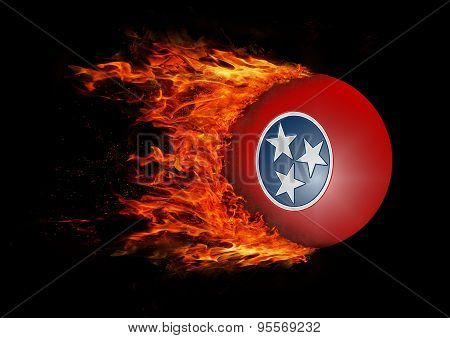 Us State Flag With A Trail Of Fire - Tennessee