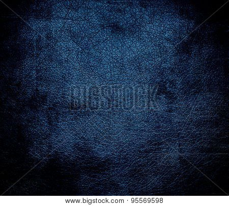 Grunge background of dark imperial blue leather texture