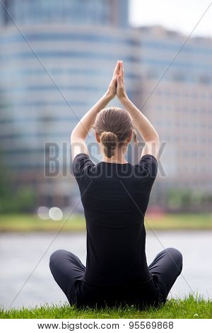 Business Woman Sitting In Yoga Pose