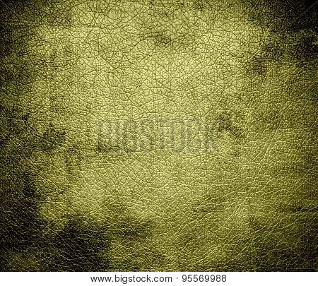 Grunge background of dark khaki leather texture