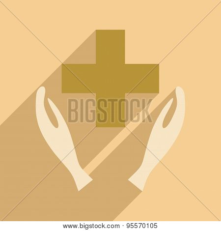 Flat with shadow icon and mobile application logo shelter
